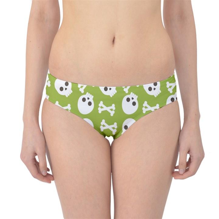 Skull Bone Mask Face White Green Hipster Bikini Bottoms