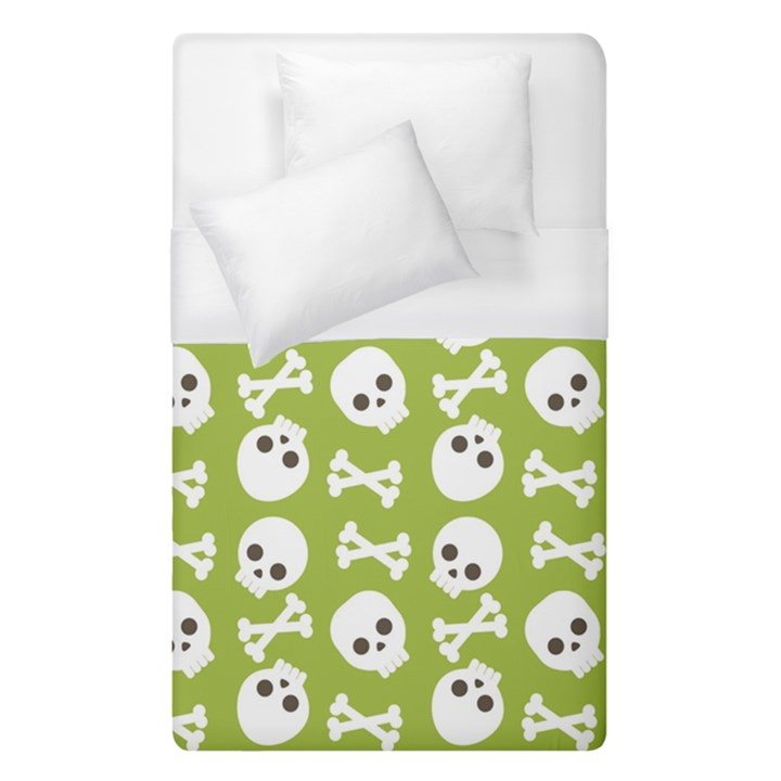 Skull Bone Mask Face White Green Duvet Cover (Single Size)