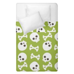 Skull Bone Mask Face White Green Duvet Cover Double Side (single Size) by Alisyart