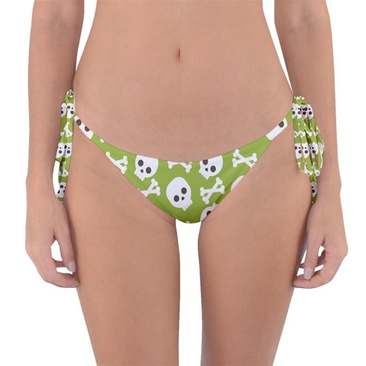 Skull Bone Mask Face White Green Reversible Bikini Bottom