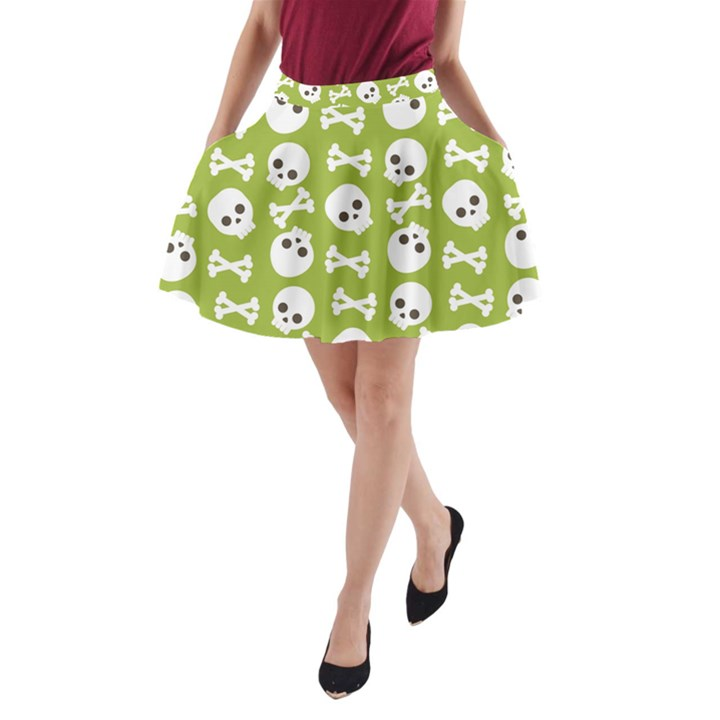 Skull Bone Mask Face White Green A-Line Pocket Skirt