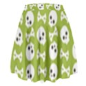 Skull Bone Mask Face White Green High Waist Skirt View2