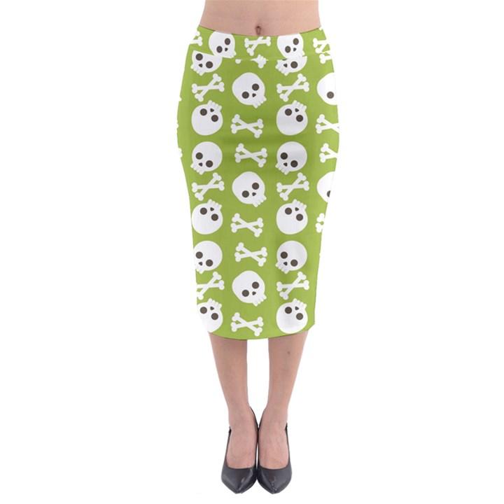 Skull Bone Mask Face White Green Midi Pencil Skirt
