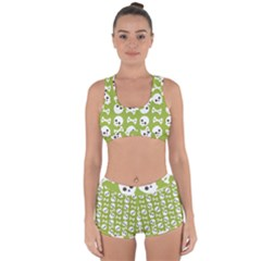 Skull Bone Mask Face White Green Racerback Boyleg Bikini Set