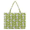Skull Bone Mask Face White Green Medium Tote Bag View1