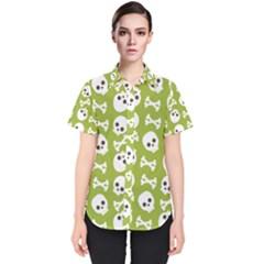 Skull Bone Mask Face White Green Women s Short Sleeve Shirt