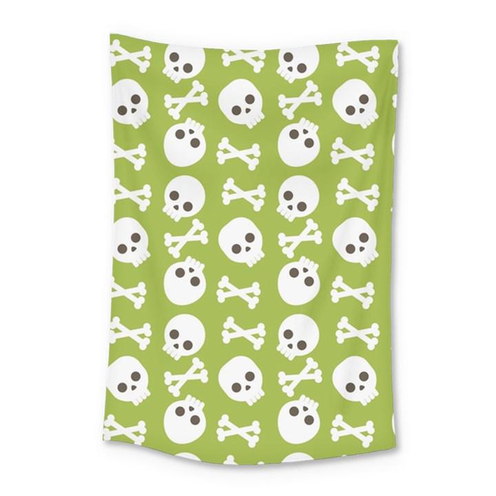 Skull Bone Mask Face White Green Small Tapestry