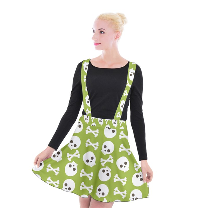 Skull Bone Mask Face White Green Suspender Skater Skirt