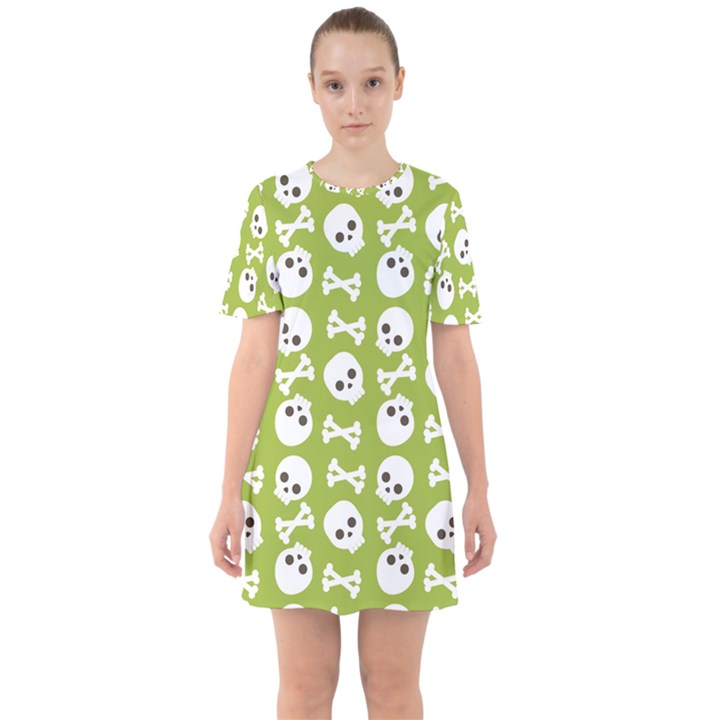 Skull Bone Mask Face White Green Sixties Short Sleeve Mini Dress