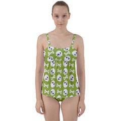 Skull Bone Mask Face White Green Twist Front Tankini Set