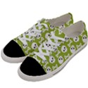 Skull Bone Mask Face White Green Women s Low Top Canvas Sneakers View2
