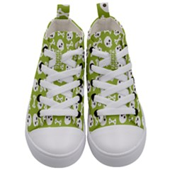 Skull Bone Mask Face White Green Kid s Mid Top Canvas Sneakers