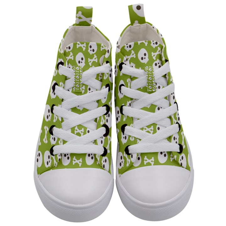 Skull Bone Mask Face White Green Kid s Mid-Top Canvas Sneakers