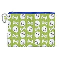 Skull Bone Mask Face White Green Canvas Cosmetic Bag (xl) by Alisyart