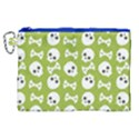 Skull Bone Mask Face White Green Canvas Cosmetic Bag (XL) View1