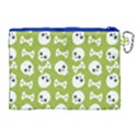 Skull Bone Mask Face White Green Canvas Cosmetic Bag (XL) View2