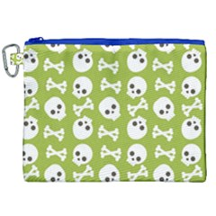 Skull Bone Mask Face White Green Canvas Cosmetic Bag (xxl)