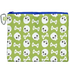 Skull Bone Mask Face White Green Canvas Cosmetic Bag (xxxl) by Alisyart