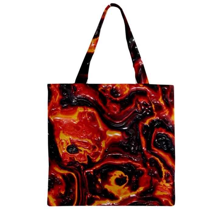 Lava Active Volcano Nature Zipper Grocery Tote Bag