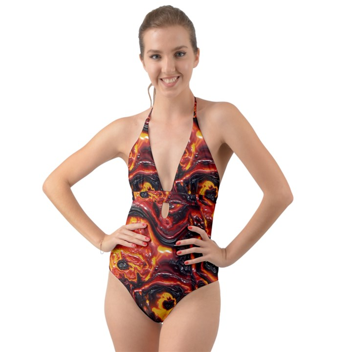 Lava Active Volcano Nature Halter Cut-Out One Piece Swimsuit