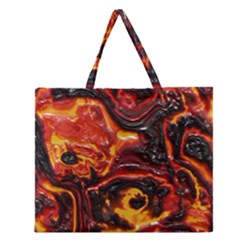 Lava Active Volcano Nature Zipper Large Tote Bag by Alisyart