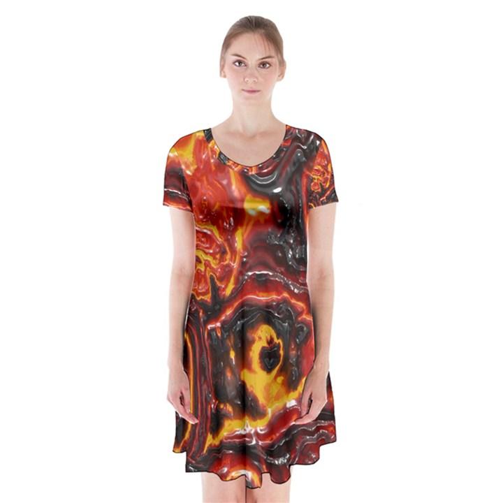 Lava Active Volcano Nature Short Sleeve V-neck Flare Dress