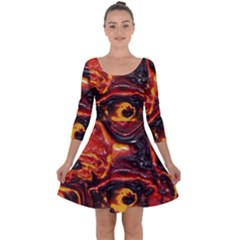 Lava Active Volcano Nature Quarter Sleeve Skater Dress by Alisyart