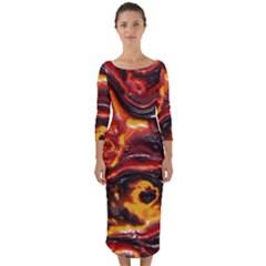 Lava Active Volcano Nature Quarter Sleeve Midi Bodycon Dress by Alisyart