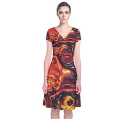 Lava Active Volcano Nature Short Sleeve Front Wrap Dress