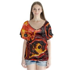 Lava Active Volcano Nature V Neck Flutter Sleeve Top by Alisyart