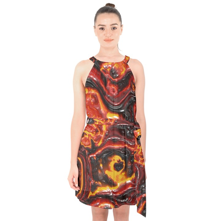 Lava Active Volcano Nature Halter Collar Waist Tie Chiffon Dress