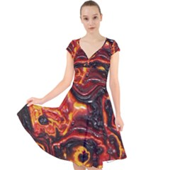 Lava Active Volcano Nature Cap Sleeve Front Wrap Midi Dress