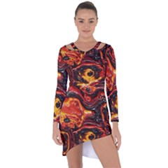 Lava Active Volcano Nature Asymmetric Cut Out Shift Dress