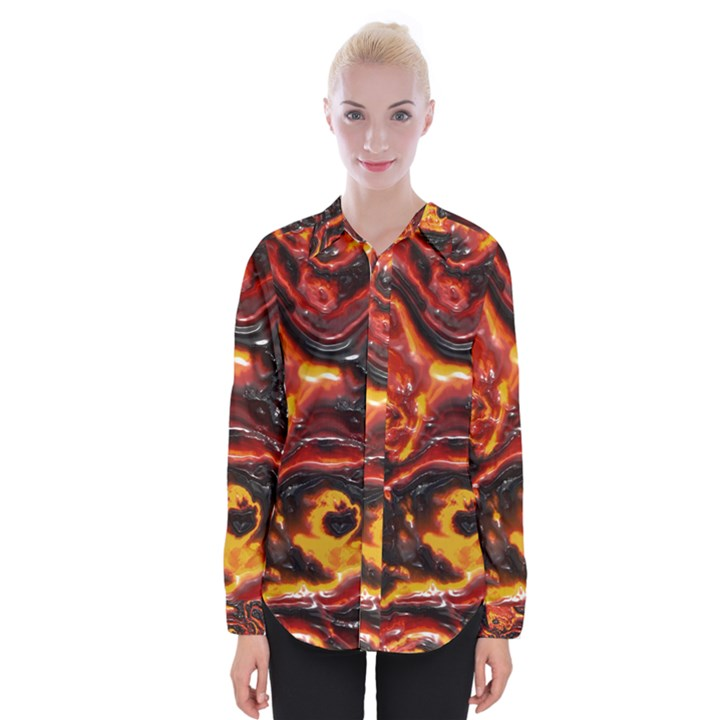 Lava Active Volcano Nature Womens Long Sleeve Shirt