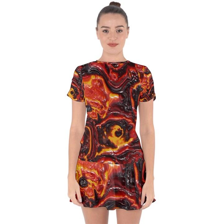 Lava Active Volcano Nature Drop Hem Mini Chiffon Dress