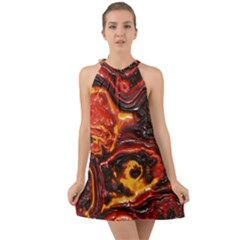 Lava Active Volcano Nature Halter Tie Back Chiffon Dress by Alisyart
