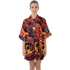 Lava Active Volcano Nature Quarter Sleeve Kimono Robe