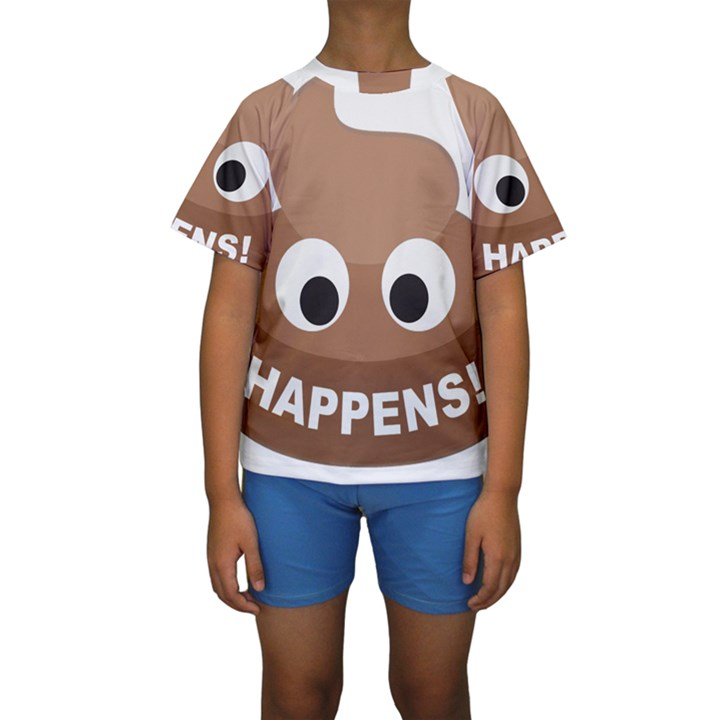 Poo Happens Kids  Short Sleeve Swimwear