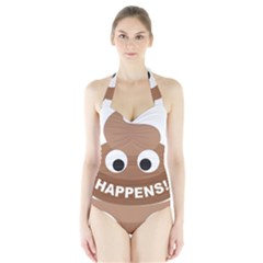 Poo Happens Halter Swimsuit
