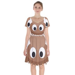 Poo Happens Short Sleeve Bardot Dress