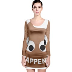 Poo Happens Long Sleeve Bodycon Dress