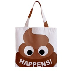 Poo Happens Zipper Grocery Tote Bag by Vitalitee