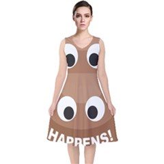 Poo Happens V Neck Midi Sleeveless Dress  by Vitalitee
