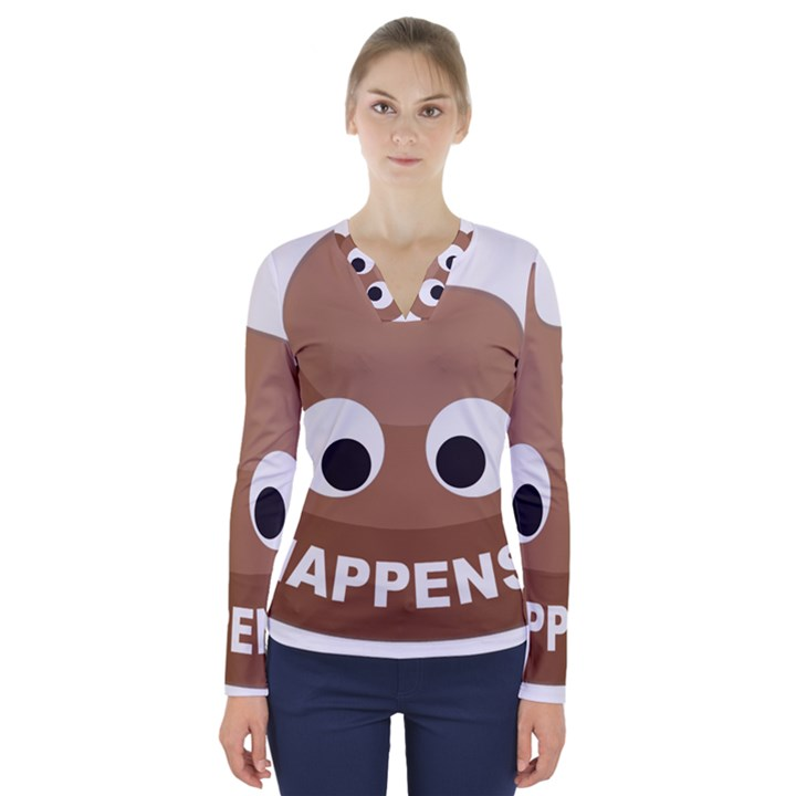 Poo Happens V-Neck Long Sleeve Top