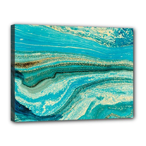 Mint,gold,marble,nature,stone,pattern,modern,chic,elegant,beautiful,trendy Canvas 16  X 12