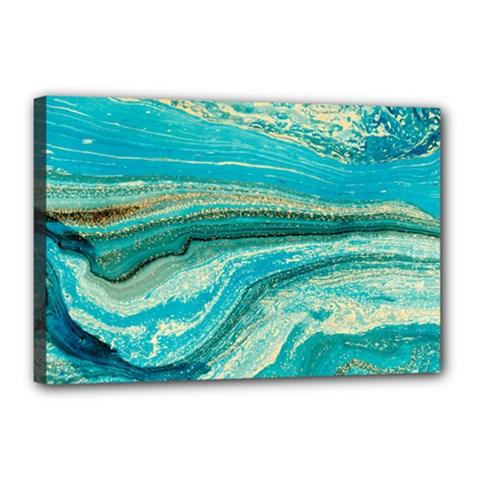 Mint,gold,marble,nature,stone,pattern,modern,chic,elegant,beautiful,trendy Canvas 18  x 12