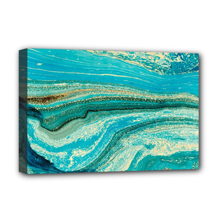 Mint,gold,marble,nature,stone,pattern,modern,chic,elegant,beautiful,trendy Deluxe Canvas 18  x 12