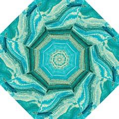 Mint,gold,marble,nature,stone,pattern,modern,chic,elegant,beautiful,trendy Hook Handle Umbrellas (Large)