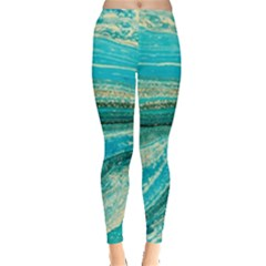Mint,gold,marble,nature,stone,pattern,modern,chic,elegant,beautiful,trendy Leggings