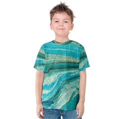 Mint,gold,marble,nature,stone,pattern,modern,chic,elegant,beautiful,trendy Kids  Cotton Tee